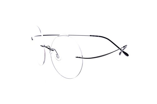 Rimless Titanium Frame Reading Glasses - High Hardness Lens - Coating Lens(Anti-glare)(blackY - Rimless Glasses Circular
