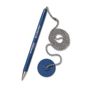 MMF Industries Secure-A-Pen Ballpoint Counter Pen with Base, Blue Ink, Medium (14 Units)