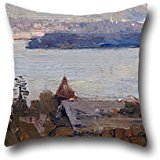 (Cushion Cases 20 X 20 Inches / 50 By 50 Cm(twice Sides) Nice Choice For Relatives,him,festival,wife,chair,dining Room Oil Painting Arthur Streeton - Sydney Harbour From Penshurst (Cremorne))