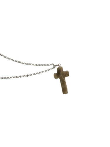 for Men or Women | Handmade Natural Michigan Petoskey Stone Gift Cross Pendant with 18Inch Chain Mined from Michigan ()