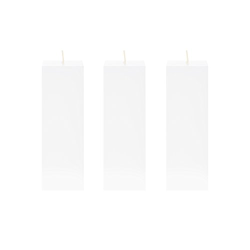 Mega Candles 3 pcs Unscented White Square Pillar Candle | Ha