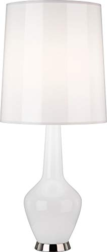 Capri Nickel Table Lamp - Robert Abbey WH736 Lamps with Translucent Ceramic Blanco Parchment Shades, White Cased Glass/Polished Nickel Accents Finish