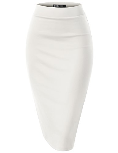 Pleated Sequin White Skirt (TWINTH Slim Vintage Pencil Skirts Below Knee Skirt White M)