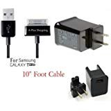 10 Ft. (EXTRA LONG) USB Data Cable Cord Charger + 2 Amp AC Wall Charger for Samsung Galaxy Tab 1, 2, 10.1, Note Tablet...