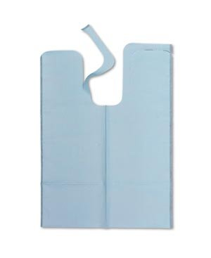 TIDI Products 980966  Specialty Patient Ribs, Tissue/Poly Bib, Die-Cut Neck, X-Large, 20'' x 29'' Size, Blue (Pack of 500)