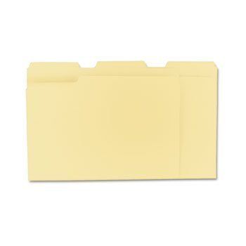 Pt 1 Ply 1/3 Cut - Universal File Folders, 1/3 Cut Assorted, One-Ply Top Tab, Letter, Manila, 100/Box