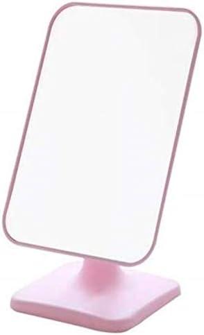 GCX- メイクアップミラー化粧鏡デスクトップHDポータブル小型ミラー女性用ドミトリー折りたたみデスクトップ鏡王女 ファッション (Color : Pink)