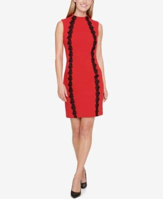 Tommy Hilfiger Women's Sleeveless Scuba Crepe Dress with Lace Embellishment, Scarlet 10