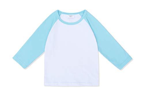 Baby Girls Boys Long Sleeve Shirts Raglan Shirt Baseball Tee Cotton T-Shirt (Blue, 3 Years) ()