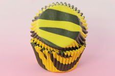 100x, 2'' Cupcake Liners Baking Cups, Black Yellow Zebra, Standard Size