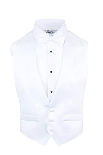 White Low Cut Satin Backless Tuxedo Vest & Bow Tie (Small-XLarge)