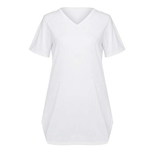 Camicie Casual Bianco Dragon868 Camicetta shirt Classico Scollo Con Spacco Women Tunica Solid Corta Donna T A Manica Color Tops V y8vmN0nwO