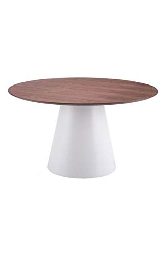 Walnut and White 53'' Circular Meeting Table