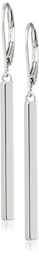 Sterling Silver Vertical Bar Dangle Earrings (Feather Earrings Silver)