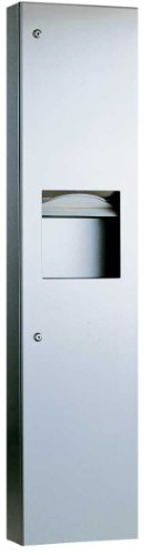 - Bobrick 38032 TrimLineSeries Stainless Steel Semi Recessed Paper Towel Dispenser and Waste Receptacle, Satin Finish, 13