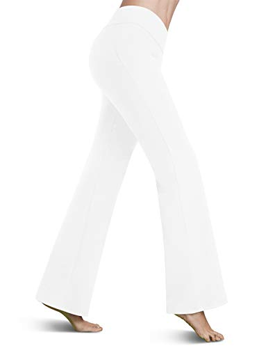 Bamans Womens Comfort Fit Bootcut Yoga Pants Tummy Control Workout Non See-Through Wide Leg Bootleg Flare Pants, White L (Dresses For Women With Boots)
