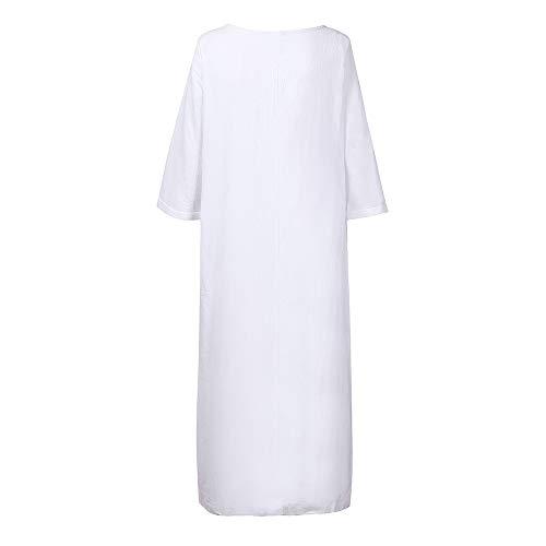 AMSKY Hooded Dress Womens,Plus Size Womens Ethnic Loose Kaftan Long Sleeve V Neck Cotton Long Maxi Dress,White,4XL