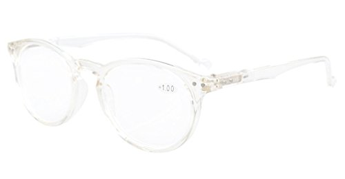 Clear Reading Glasses - Eyekepper Oval Round Spring Hinges Reading Glasses Transparent Frame +2.0
