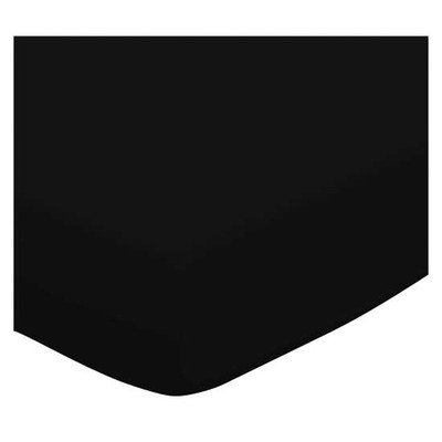 SheetWorld Fitted Pack N Play (Graco Square Playard) Sheet - Solid Black Jersey Knit - Made In USA
