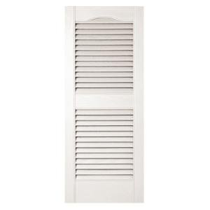 Builders Edge 15 in. Vinyl Louvered Shutters in White - Set of 2 (14.5 in. W x 1 in. D x 35.6875 in. H (4.53 lbs.))
