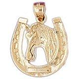 CleverEve 14K Gold Pendant Horseshoes 3.2 Grams