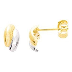 So Chic Bijoux © Boucles d'oreilles Femme Demi Créoles Bicolores 2 Anneaux Arrondis Larges Joints Or Jaune & Blanc 750/000 (18 carats)