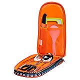 - Camp Kitchen Utensil Organizer Travel Set by Monblan – Portable BBQ Camping Cookware -Cutting Board|Rice Paddle|Tongs|Scissors|Knife and Bottle Opener