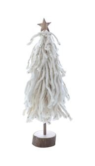 Heart of America Wool Tree On Wood Slice With Star Cream - 2 Pieces by Heart of America (Image #2)