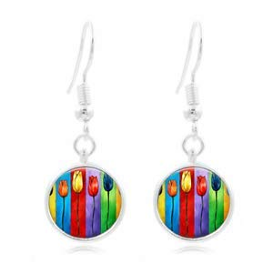- 1set Colorful Tulip Tibet Silver Dome Photo 16MM Glass Cabochon Long Earrings