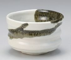 Matcha bowl Japanese tea cup for tea ceremony, Mino porcelain Chawan 3.9''