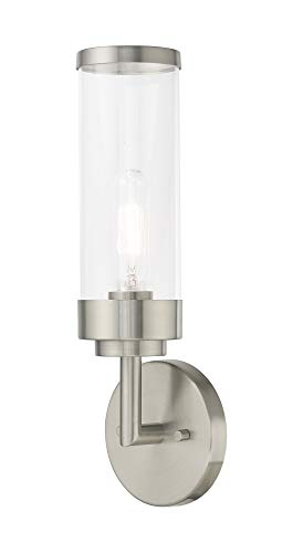 Livex Lighting 10361-91 Hillcrest - One Light ADA Wall Sconce, Brushed Nickel Finish with Clear Glass