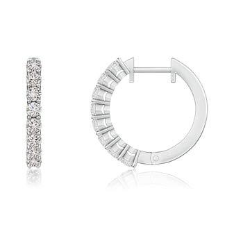 2.5mm Diamond Airline-Set Diamond Hinged Hoop Earrings