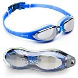 Goggles Racing Pro - Olympia Nation Pro Swim Goggles - Blue with Mirrored Lenses