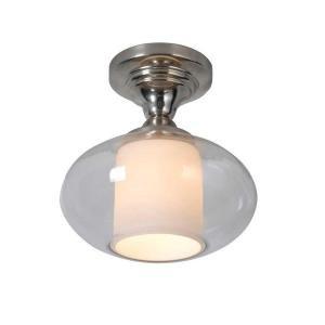 Hampton Bay 1-light Chrome Dumant Glass Semi-flush Mount