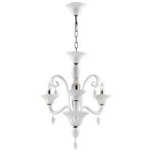 Treviso Three Light - Cyan Lighting 6496-3-14 Treviso - Three Light Chandelier, Chrome Finish with White Murano Glass with White Murano Crystal