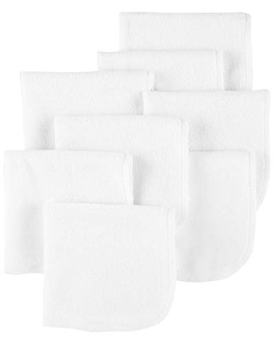 Child of Mine by Carters White Washcloths, 8-Pack (Baby Boys or Baby Girls Unisex)