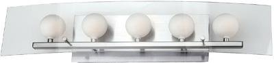 - Lite Source LS-16455PS/FRO Alysa 5-Lite Wall Lamp, Polished Steel with Frosted Glass Orbs Behind Clear Glass