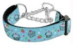 Mirage Pet Products Cupcakes Nylon Ribbon Martingale Collar for Pets, Medium, Baby Blue, My Pet Supplies
