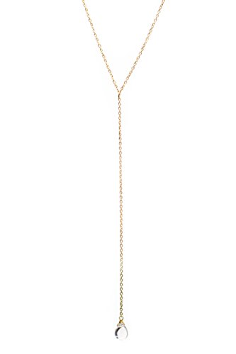 Benevolence LA Gold Chain Necklace – 14K Gold Dipped Y Necklace Water Droplet Pendant With Lariat Style Chain Necklace Dainty, Hand Wrapped Celebrity Approved And Eco Friendly