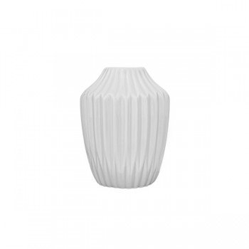Bloomingville Vase In Faltenoptik Matt Weiß