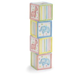 Whimsical Giraffe and Elephant Animal Vase with Stacked Block Design Baby Nursery or Baby Shower Decoration by Burton & Burton