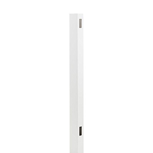 Fence End Post - Outdoor Essentials Pro Series Hudson 98 in. White Vinyl Routed Privacy Fence End Post