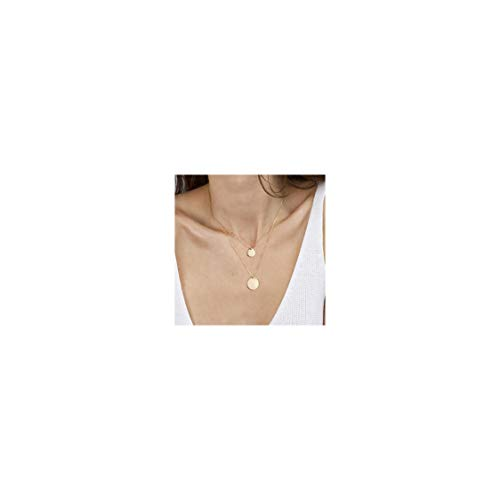 Gold Tiny Layered Dainty Necklace 18K Gold Plated Cute 2 Layered Circle Round Disc Handmade Dainty Charm Minimalist Simple Chain Pendant Necklace for Women