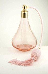 Spruzzatore per profumo con flacone in vetro di Bohemia - made in Italy - vintage Martinoli