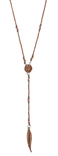 SPUNKYsoul Handmade Boho Long Feather Statement Y Pendant Necklace in Copper for ()