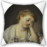 Artistdecor Oil Painting Jean-Baptiste Greuze - A Girl With A Dead Canary Cushion Covers 18 X 18 Inches / 45 By 45 Cm For Pub,gf,gril Friend,home Theater,dinning Room With 2 Sides