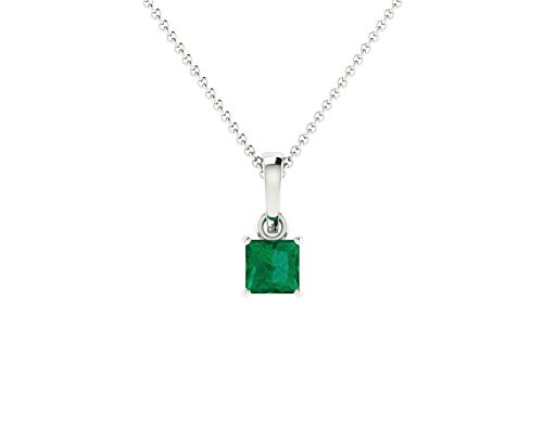 Euforia Jewels 14K Fine Gold Natural Emerald 4X4 mm Square Pendant With Free 925 Sterling Silver Chain Friendship Day