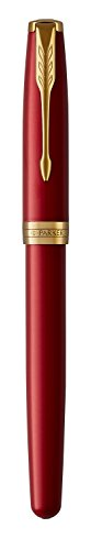 PARKER Sonnet Fountain Pen, Red Lacquer with Gold Trim, Solid 18k Gold Fine Nib by Parker (Image #4)