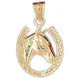 CleverEve 14K Gold Pendant Horseshoes 2.6 Grams