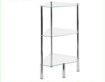 LHS Crystal Clear Glass Chrome/Steel 3 Tier Corner Unit Table